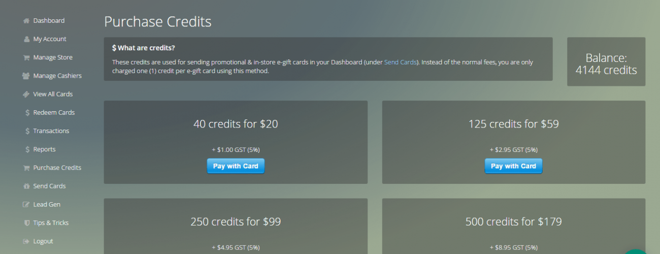 Anycard Purchase Credit system